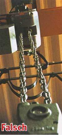 Bild 4-12: Ein Blick in Längsrichtung der hängenden Hubkette genügt, um festzustellen, dass die Kette verdreht ist